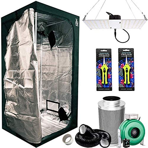 Plant House Indoor Grow Tent Kit Complete with HLG 100 V2 4000k Quantum Board LED Growing Light Bloom and Veg, Active Air 4 Inch Inline Fan Duct and Carbon Filter System , and 2 Trimmers