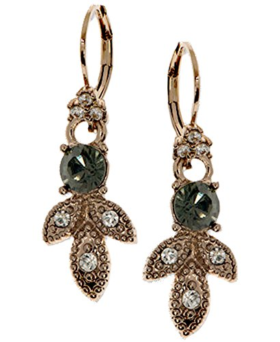 Marchesa Gold-Tone Pave and Colored Stone Drop Earrings Black