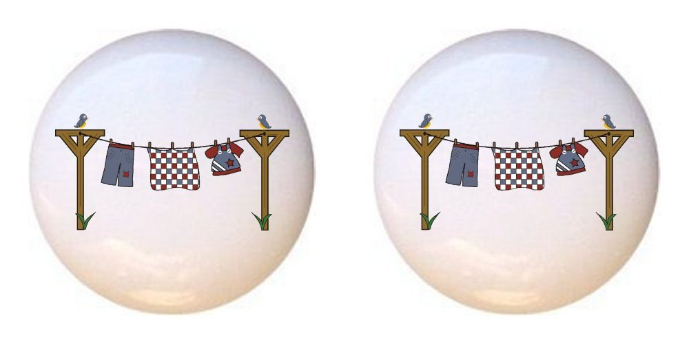SET OF 2 KNOBS - Clothesline Clothes Line - Laundry Room by CCL - DECORATIVE Glossy CERAMIC Cupboard Cabinet PULLS Dresser Drawer KNOBS