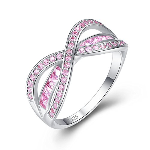 - Emsione 925 Sterling Silver Plated Created Pink Topaz Infinity Criss Cross Rings for Women Lady
