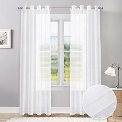 Amazoncom Pony Dance 84 Inches Sheer Curtains 55 X 84 White