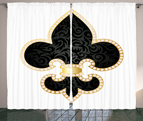 Fleur De Lis Decor Curtains 2 Panel Set By Ambesonne  Royal Legend Lily Throne Of France Empire Family Insignia Of Knights Image  Living Room Bedroom Decor  108 W X 84 L Inches  Black Gold White