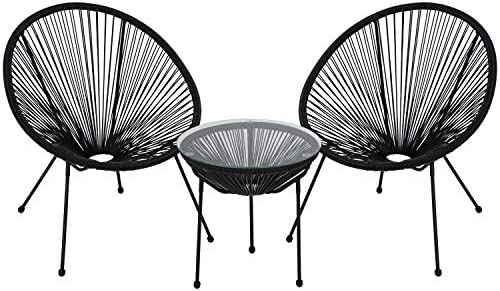 FDW Bistro Table Set Patio Bistro Set Outdoor Chairs Set of 2 Acapulco Chairs Small Patio Table and Chairs All-Weather Hammock Weave Chair Set of 2 and Glass Top Side Table Black