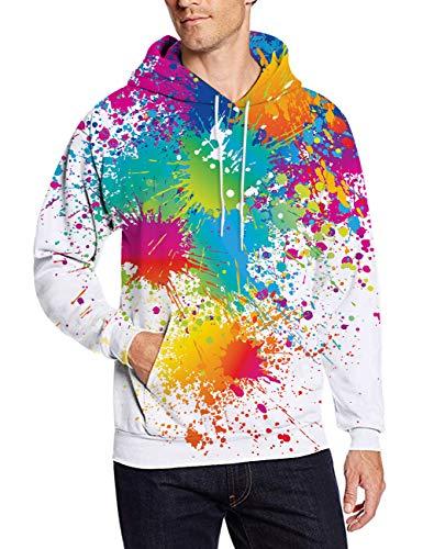 (3D Hoodie Sweatshirt Women Men Watercolor Paint Splatter Printed Graffiti Girl Geometric Tie Dye Fashion Stylish Clothing with Kangaroo Pocket Loose Fit Outdoor Cool Novelty Pullover Sweater Teen Boys)