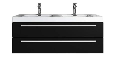 Mobile da bagno Roma 120 cm lavabo nero legno - Mobiletto lavabo ...