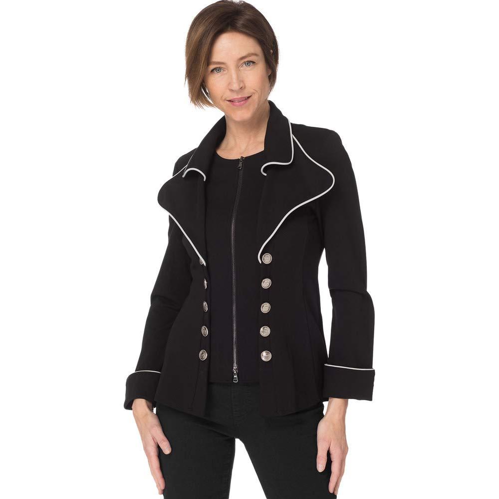 Joseph Ribkoff  183355 Woman's Black MilitaryLook ZipFront Jacket