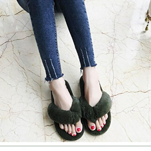 Flat Sports Faux Soft Slipper Short Non slip Bath amp;Outdoor Round Flip Snap Fur Street Casual Fluffy Winter Plush Beach TAOtTAO Toe House Stylish Women Flop Pool Sliders Indoor Green Shoes Sandal Spa Autumn 60wqYxUI