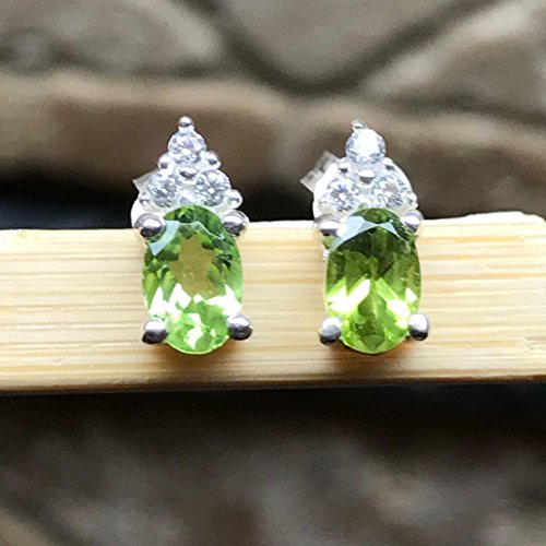Green Natural Sapphire (Natural 1.5ct Apple Green Peridot 925 Solid Sterling Silver Earrings 10mm)