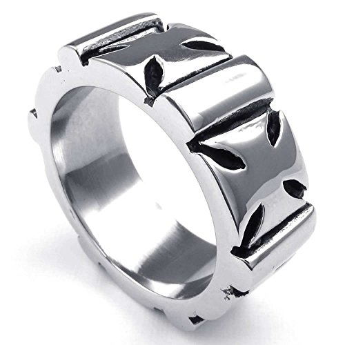 AnaZoz Jewelry Stainless Steel Cross Silvery Iron Men's Rings Size 12 Fashion Band (Steel Iron Cross)