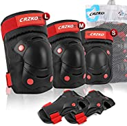 Knee Pads for Kids Adult, Elbow and Knee Pads for Men Women, Skating Pads 6 in 1 Set with Wrist Guard, Protect
