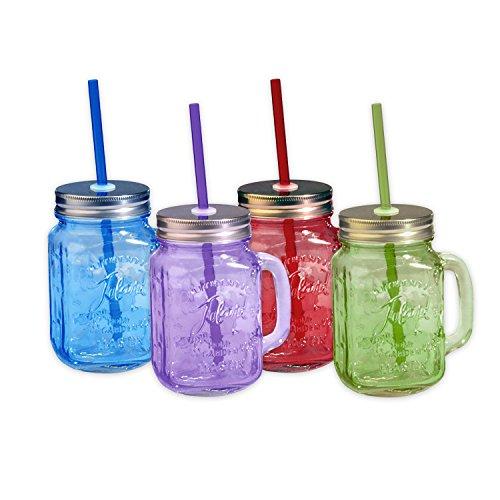 Toland Home Garden Mason Jar 16 oz Mug (Set of 4), Red/Purple/Blue/Green, 1 pint (Blue Glass Purple)