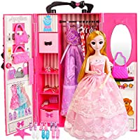 AMETUS Doll Closet Wardrobe Accessories for Barbie Clothes Shoes Handers Bags Playset 22Pcs