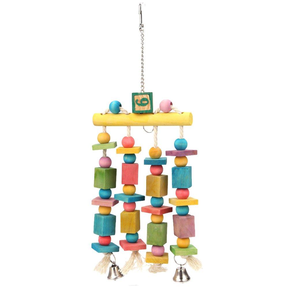 Gowind6/colorato Pappagallo Pet Uccello Ara Appeso Masticare Giocattolo Campane Blocchi di Legno Altalena Giocattolo