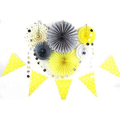 SUNBEAUTY Decoración 8 Piezas, Amarillo Gris Papel Garland Banderín para Decoración de Cumpleaños Aniversario Bautismo Boda Baby Shower Dormitorio y Compromiso: Hogar