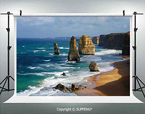 Photography Background 12 Apostles in Australia Rock Face Lookout by The Sea Sightseeing Panoramic Picture 3D Backdrops for Photography Backdrop Photo Background Studio Prop