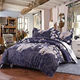 W&P Simple abundance luxury Royal Blue polyester printed quilt cover set set of 4 , king