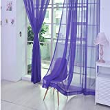 YanHoo 1 PCS Pure Color Tulle Door Window Curtain Drape Panel Sheer Scarf Valances (I)