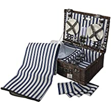 4 Person Wicker Picnic Basket: Deluxe Woven Willow Vintage Hamper Set - Porcelain Plates, Glass Wine Glasses; Napkins and Blanket; Free Cold Storage Bag; Extra-Large. (Willow with Blanket/Napkins)