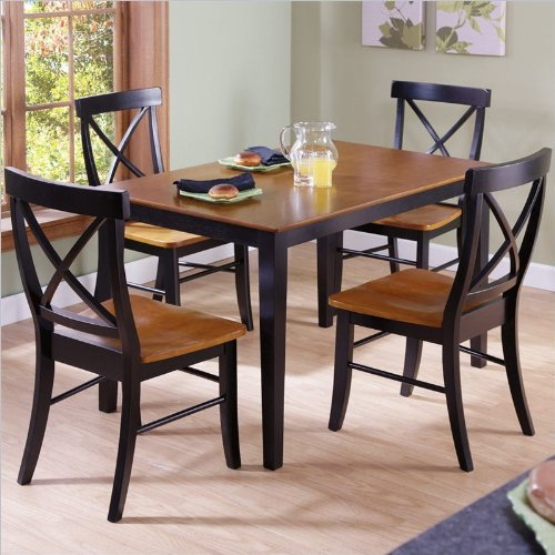 International Concepts 30 by 48-Inch Dining Table with X-Back Chairs, Set of 5