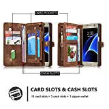 Samsung S7 Case Wallet Purse with Card Slot, Brown, Billfold Zippered Detachable Magnet Cell Phone Case