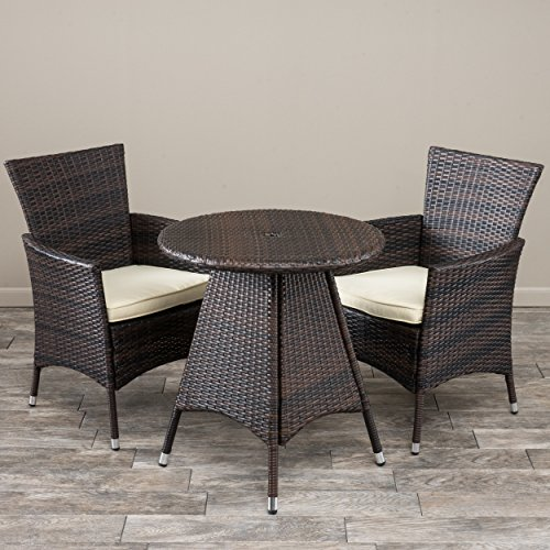 Great Deal Clementine Outdoor 3pc Multibrown Wicker Bistr...