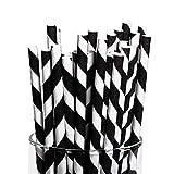 Fun Express - Black Paper Striped Straws (24pc) - Party Supplies -...