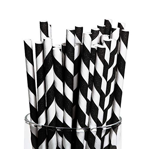 (Fun Express - Black Paper Striped Straws (24pc) - Party Supplies - Drinkware - Straws - 24)
