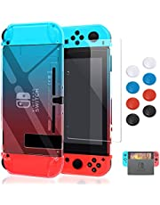 Case for Nintendo Switch,Fit The Dock Station, Protective Accessories Cover Case for Nintendo Switch and Joy-Con Controller - Dockable with a Tempered Glass Screen Protector