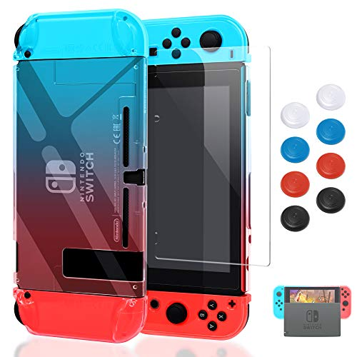(Case for Nintendo Switch,Fit The Dock Station, Protective Accessories Cover Case for Nintendo Switch and Joy-Con Controller - Dockable with a Tempered Glass Screen Protector,Crystal Clear Red & Blue)