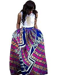 Women's African Printed Pleated Maxi Skirt High Waist A...