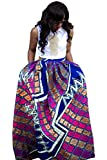 Women's African Print Pleated Maxi Dress Ball Gown Length Skirt Purple X-Large
