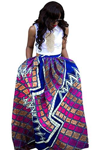 Women's African Print Pleated Maxi Dress Ball Gown Length Skirt Purple - Dress Print Maxi