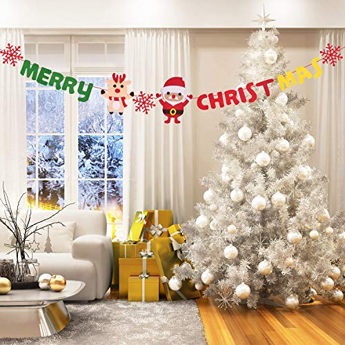 Callenbach Merry Christmas Banners Include Phrase Merry Christmas Words, Christmas Decorative Flag, Christmas Fireplace Wall Signs for Home Party Decoration (Merry In Words Christmas)