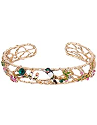 Ever Faith Gold-Tone Cystral Enamel Holiday Gift Lovely Swallow Family Cuff Bracelet Multicolor N07186-1