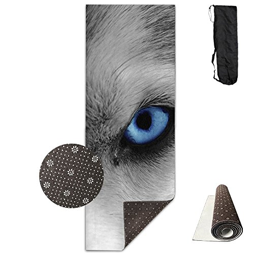 Jessent Yoga Mat Non Slip Wolf Eyes Printed 24 X 71 Inches Premium For Fitness Exercise Pilates With Carrying -