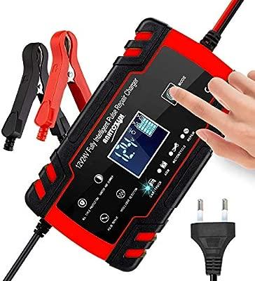 3T6B Cargador de Batería para Coche, 12V/24V Mantenimiento Automático Múltiples Inteligente, Pantalla LED y Botón de la Pantalla Táctil, para ...
