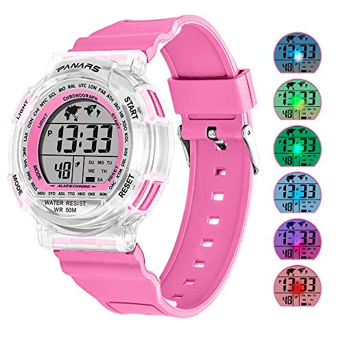 - Kids Sport Digital Watches, Boys Girls Outdoor 50m Waterproof Electrical Wristwatch with Alarm Stopwatch Reminder for Age 6-16 Child Young Teen (Pink)