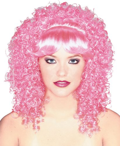 (Rubie's Candy Girl Curly with Bangs Wig, Pink, One Size)