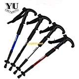 SHOPEE BRANDED 4-Step 9 LED Adjustable Anti-Shock Telescopic Hiking Walking Stick with LED Flashlights (Batteries included) Color: assorted color