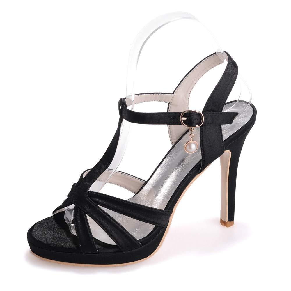 Zxstz Damen Peep Toe High Heels Hochzeit Pumps Kleid Schuh Abend Party Prom Plattform Knöchelriemen Sandalen