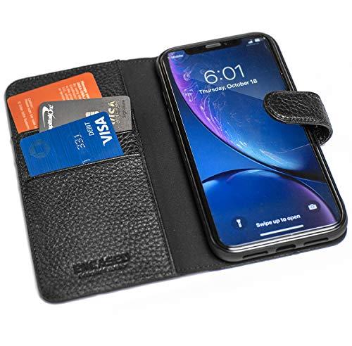 Encased Genuine Leather Wallet Case, Designed for iPhone XR - 4 Card Slots with Cash Pocket (Pebble -