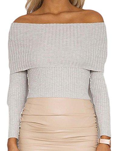 Yayu Womens Off Shoulder Long Sleeve Rib-Knit Slim Pullover Sweater Grey Medium