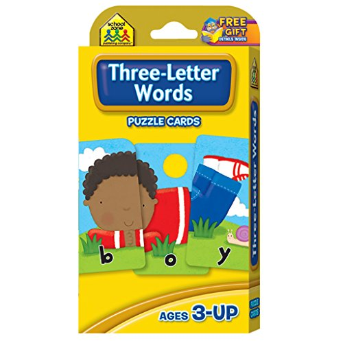 (School Zone - Three-Letter Words Flash Cards - Ages 3 and Up, Letters, Letter Recognition, Word Recognition, Spelling, and More)