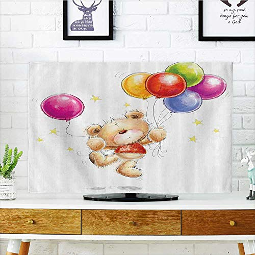 Cart H30 (TV dust Cover Cute Teddy ar with Ballos and Stars Cheerful Love Friends Animal Cart TV dust Cover W19 x H30 INCH/TV 32