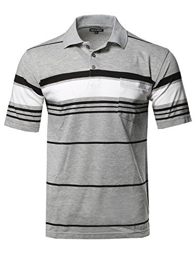Style by William Basic Everyday Stripe Chest Pocket Polo T-Shirt Gray M