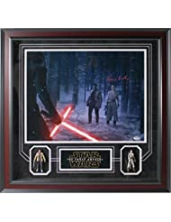 Daisy Ridley Signed 'Rey In Forest With Kylo Ren & Finn' Collage with Collectible Action Figures (24x24)
