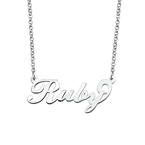 925 Sterling Silver RUBY Name Necklace Womens Girls Pendant Gift Ready Stock