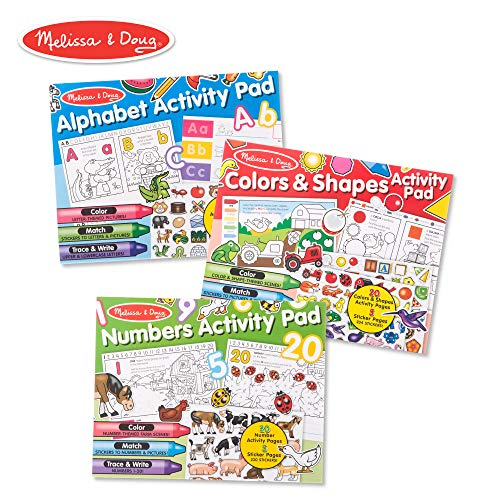 (Melissa & Doug Sticker and Coloring Activity Pad 3-Pack - Alphabet, Numbers, Colors and Shapes )