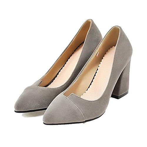 Donne Tirano grigio Scarpe Pompe Smerigliati Punta Solidi Indicata Delle Chiuso Allhqfashion Talloni TxOtwAnfqR