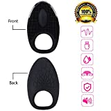 Luoli Waterproof P e n i s Ring Vibrators Massagers C o c k Rings Wireless Rechargeable 6 Modes Body Silicone Toy with Free Premium Controller For Couples (Black84)